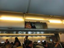 Miami, Etats-Unis - 12 mai 2018 : Intérieur d'Airbus 380-800 avant le vol photo stock