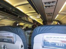 Miami, Etats-Unis - 12 mai 2018 : Intérieur d'Airbus 380-800 avant le vol images stock
