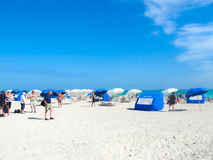 Miami, EUA - 5 de janeiro de 2014: Praia sul, Miami Beach, Florida Foto de Stock Royalty Free