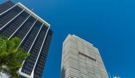 MIAMI - 25. FEBRUAR 2016: Stadtwolkenkratzer auf einem schönen winte Lizenzfreie Stockbilder