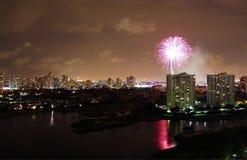 Miami-Feuerwerke Stockfotografie