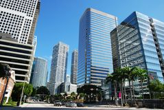 Miami Financial District. Skyscrapers on a main street in Miami financial district (Florida Stock Photos