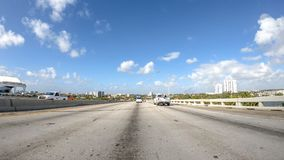 MIAMI, FL - APRIL 2018: Traffic along I-95 interstate. THis is a. Major road that crosses US Stock Photo