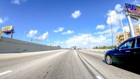 MIAMI, FL - APRIL 2018: Traffic along I-95 interstate. THis is a. Major road that crosses US Royalty Free Stock Photos