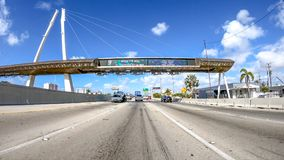 MIAMI, FL - APRIL 2018: Traffic along I-95 interstate. THis is a. Major road that crosses US Stock Image