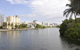 Miami FL, Augusti 09.: I stadens centrum Miami horisont från Miami i Florida USA Arkivfoton