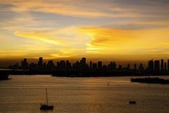 Miami FL, de zonsondergangmening van de V.S. van Miami Van de binnenstad van het Strand van Miami stock afbeelding