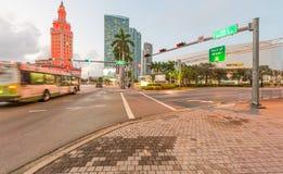 MIAMI, FL - FEBRUARY 23, 2016: City streets at sunset. Miami att Royalty Free Stock Photo