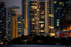 Modern Buildings at Night stock photography