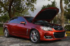 Red Chevy SS with supercharged motor Stock Photography