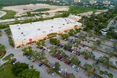 Aerial Target store North Miami Florida. Miami, FL, USA - October 1, 2018: Aerial drone shot of a Target retail chain store in Florida royalty free stock image