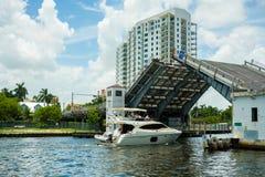Miami flodCityscape Royaltyfria Bilder