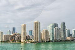 Miami, floria. City skyline. View of Miami downtown skyline at sunny and cloudy day with amazing architecture Royalty Free Stock Image