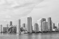 Miami, floria. City skyline. View of Miami downtown skyline at sunny and cloudy day with amazing architecture Royalty Free Stock Photo