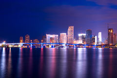 Miami, Florida. City skyline behind the access to port facilities, downtown, Miami, Florida, United States Stock Photo