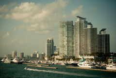 Miami, Florida. Modern buildings and yacht club in Miami, Florida Stock Photo