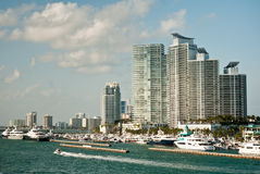 Miami, Florida. Modern buildings and yacht club in Miami, Florida Royalty Free Stock Images