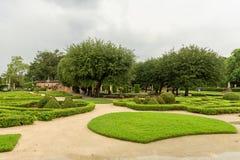 MIAMI, FLORIDA - APRIL 29, 2015: Vizcaya Museum  Garden. Green Garden with Paths and Tourist People. Stock Photos