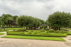 MIAMI, FLORIDA - APRIL 29, 2015: Vizcaya Museum  Garden. Green Garden with Paths and Tourist People. Stock Image