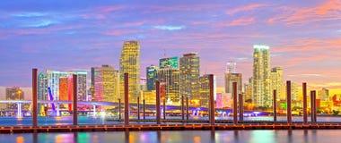 Miami Florida At Sunset, Colorful Skyline