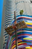 SLS Lux Brickell. Miami, Florida - August 17, 2017: Close up view of the nearly finished construction of the colorful SLS Lux Residences in the popular downtown Stock Photography