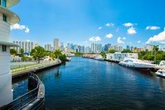 Miami River Cityscape Stock Photos