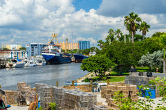 Miami River Cityscape Royalty Free Stock Images