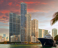 Miami Florida buildings at sunset Royalty Free Stock Photos