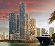 Miami Florida buildings at sunset Royalty Free Stock Photos