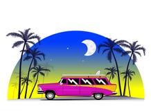 Miami florida car. Vintage car with surfing board. Miami, Florida, Hawaii vacation concept illustration. Vector Stock Photos