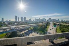 Miami florida city skyline and streets stock image