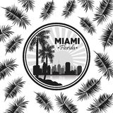 Miami florida design. Palm tree and City icon. Vector graphic Royalty Free Stock Images