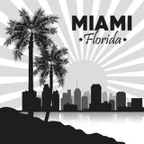 Miami florida design. Palm tree and City icon. Vector graphic Stock Image