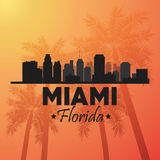 Miami florida design. Palm tree and City icon. Vector graphic Royalty Free Stock Photo