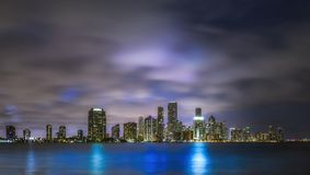 Miami Night Cityscape Reflections Royalty Free Stock Images