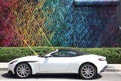 MIAMI FLORIDA - 11 MAJ 2019: Wynwood v?ggar Miami Wynwood ?r en grannskap i Miami, Florida som ?r bekant f?r dess grafitti och ga royaltyfri fotografi