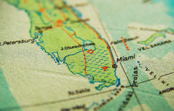 Miami Florida map. US map. Miami Florida map stock photo