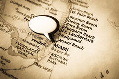 Miami, Florida map. Image of old vintage map with word bubble for text. Main focus on Miami, Florida royalty free stock photo