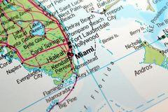 Miami, Florida map Stock Photography