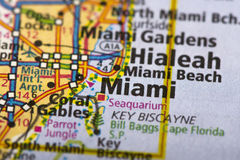 Miami, Florida on map. Closeup of Miami, Florida on a political map of the United States royalty free stock image