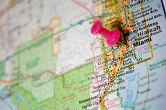 Miami, Florida. A map of Miami, Florida marked with a push pin stock images