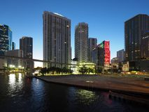 Miami River and the City of Miami at sunrise. Miami, Florida 12-17-2018 The Miami River and the City of Miami at sunrise on a clear, cloudless winter day stock photo
