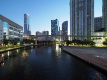 Miami River and the City of Miami at sunrise. Miami, Florida 12-17-2018 The Miami River and the City of Miami at sunrise on a clear, cloudless winter day stock image