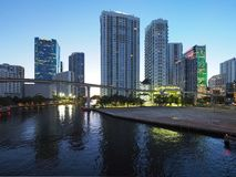 Miami River and the City of Miami at sunrise. Miami, Florida 12-17-2018 The Miami River and the City of Miami at sunrise on a clear, cloudless winter day royalty free stock images