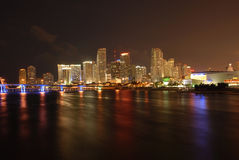 Miami Florida - Night Life. Night view of the downtown of Miami Florida. A very urban image. The water adds the beauty Stock Photo