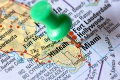 Miami - Florida - op de kaart Stock Afbeeldingen
