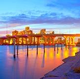 Miami Florida på solnedgången Arkivfoton