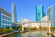 MIami Florida,Panorama of River and skyline. Of  business buildings in Brickell financial district on a beautiful summer day Stock Photos