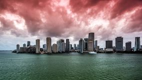 Miami, Florida. Skyline with cloudy skies stock footage