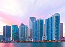 Miami Florida, skyline do por do sol Foto de Stock